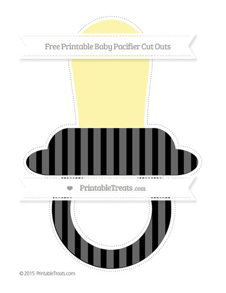 Free Black Striped Extra Large Baby Pacifier Cut Outs