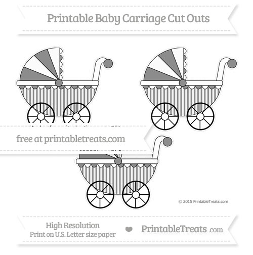 Free Black Striped Medium Baby Carriage Cut Outs