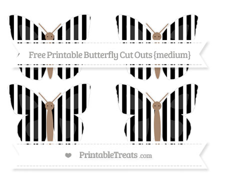 Free Black Striped Medium Butterfly Cut Outs