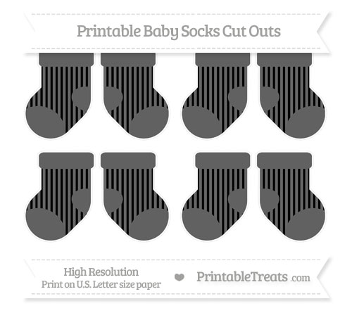 Free Black Striped Small Baby Socks Cut Outs