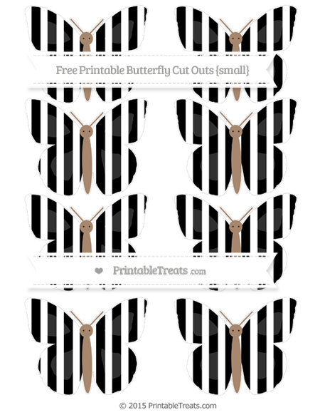 Free Black Striped Small Butterfly Cut Outs