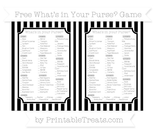 Free Black Striped What's in Your Purse Baby Shower Game