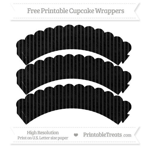 Free Black Thin Striped Pattern Chalk Style Scalloped Cupcake Wrappers