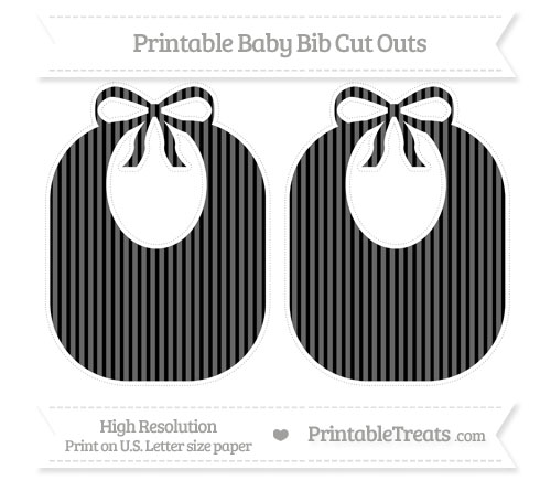 Free Black Thin Striped Pattern Large Baby Bib Cut Outs