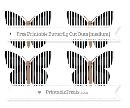Free Black Thin Striped Pattern Medium Butterfly Cut Outs