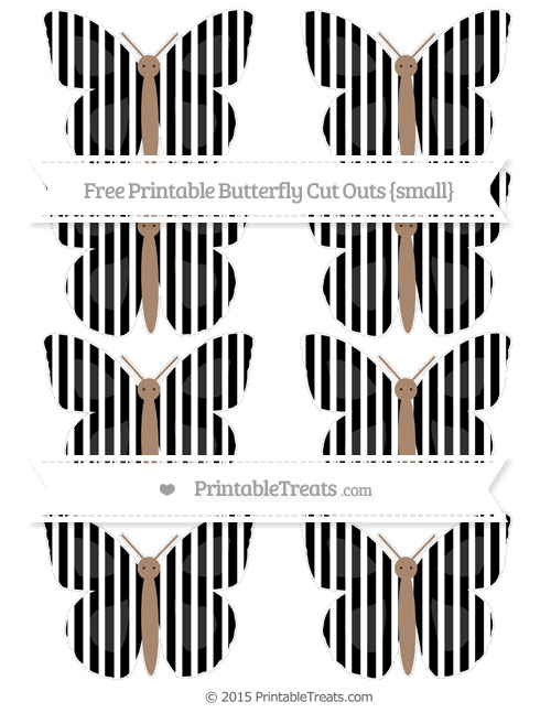 Free Black Thin Striped Pattern Small Butterfly Cut Outs