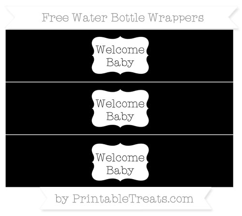 Free Black Welcome Baby Water Bottle Wrappers