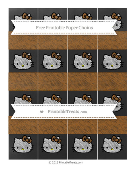 Free Brown Chalk Style Hello Kitty Paper Chains