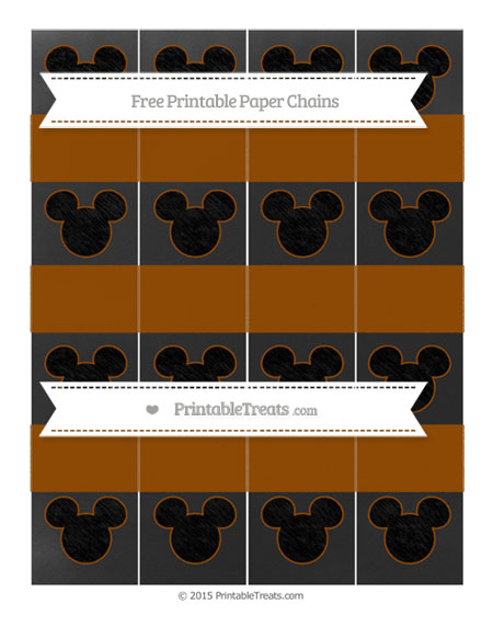 Free Brown Chalk Style Mickey Mouse Paper Chains