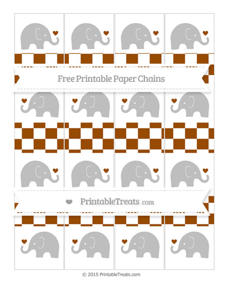 Free Brown Checker Pattern Baby Elephant Paper Chains