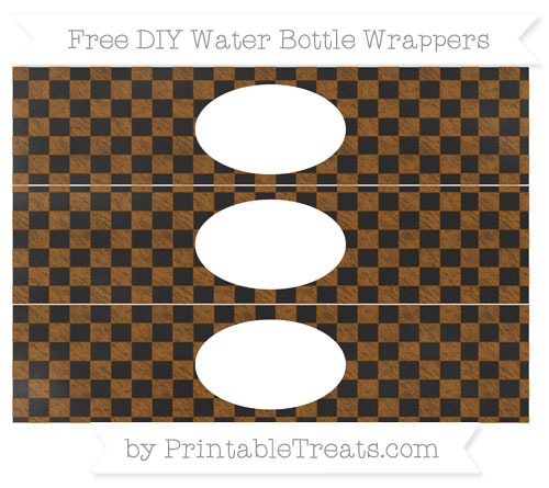 Free Brown Checker Pattern Chalk Style DIY Water Bottle Wrappers
