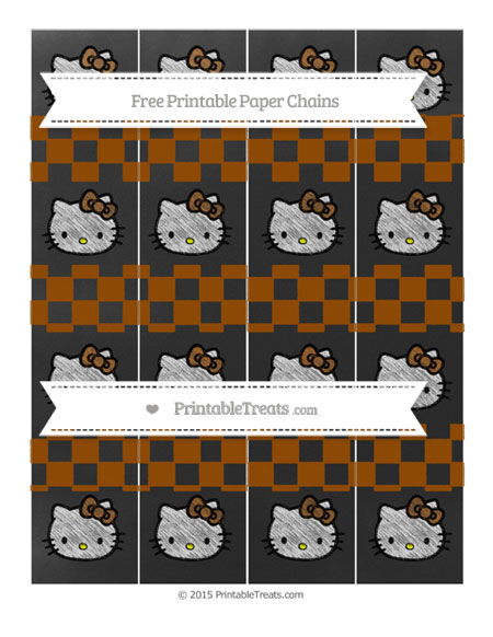 Free Brown Checker Pattern Chalk Style Hello Kitty Paper Chains