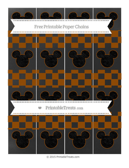 Free Brown Checker Pattern Chalk Style Mickey Mouse Paper Chains