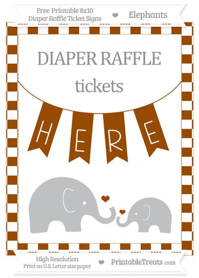 Free Brown Checker Pattern Elephant 8x10 Diaper Raffle Ticket Sign