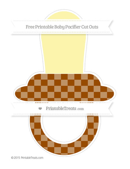 Free Brown Checker Pattern Extra Large Baby Pacifier Cut Outs
