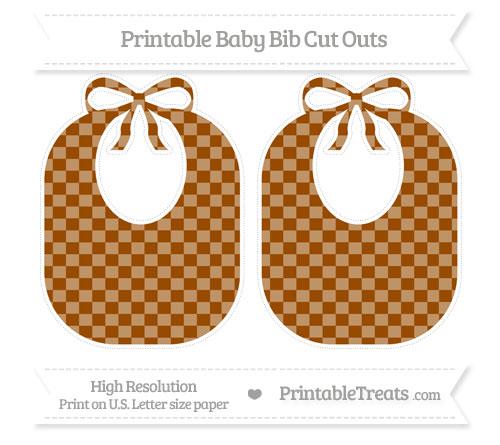 Free Brown Checker Pattern Large Baby Bib Cut Outs