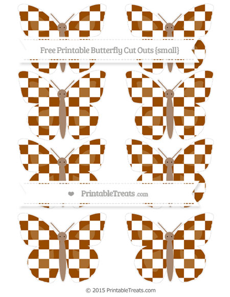 Free Brown Checker Pattern Small Butterfly Cut Outs