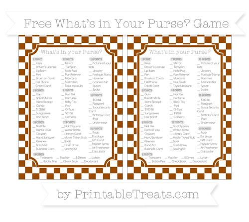 Free Brown Checker Pattern What's in Your Purse Baby Shower Game