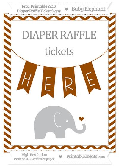 Free Brown Chevron Baby Elephant 8x10 Diaper Raffle Ticket Sign
