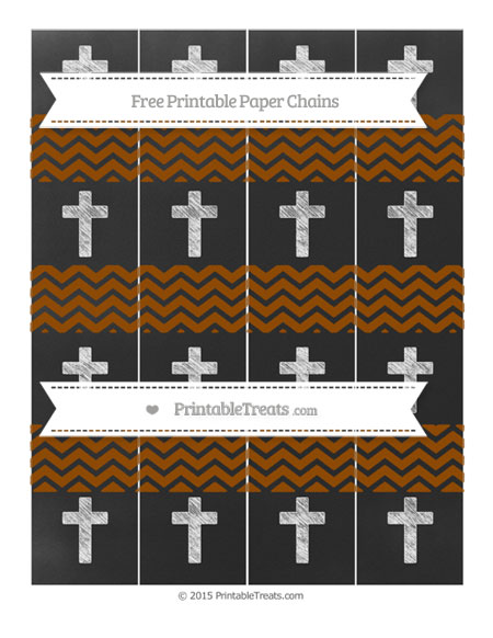 Free Brown Chevron Chalk Style Cross Paper Chains