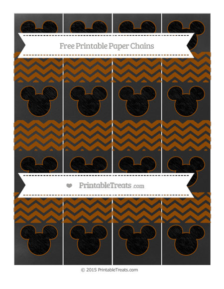 Free Brown Chevron Chalk Style Mickey Mouse Paper Chains