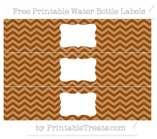 Free Brown Chevron Water Bottle Labels