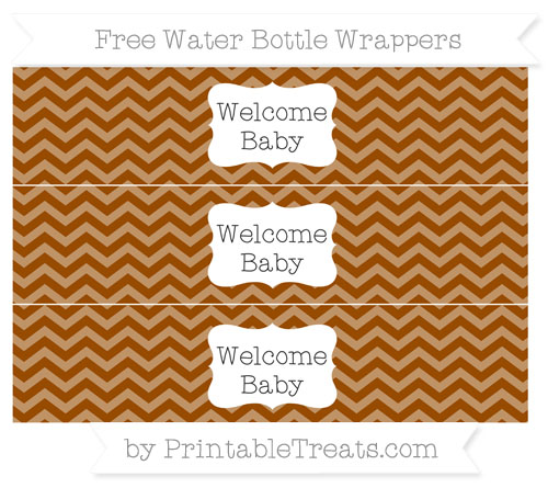 Free Brown Chevron Welcome Baby Water Bottle Wrappers