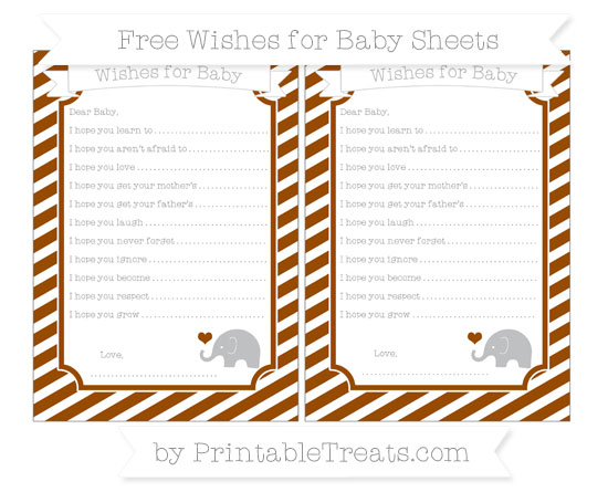 Free Brown Diagonal Striped Baby Elephant Wishes for Baby Sheets