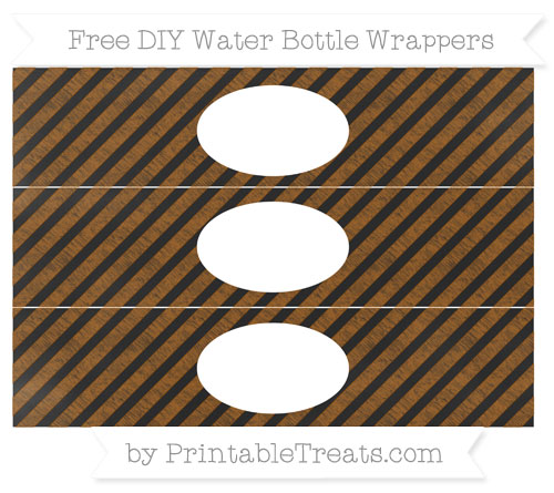 Free Brown Diagonal Striped Chalk Style DIY Water Bottle Wrappers