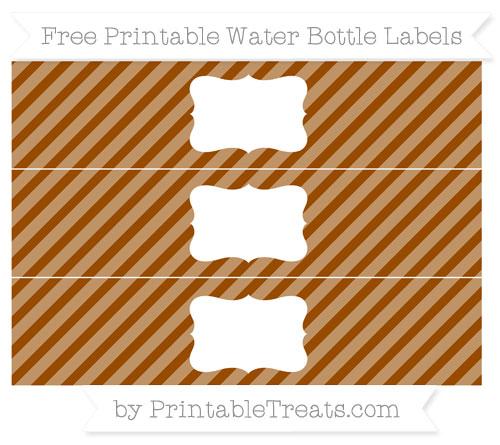 Free Brown Diagonal Striped Water Bottle Labels