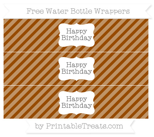 Free Brown Diagonal Striped Happy Birhtday Water Bottle Wrappers