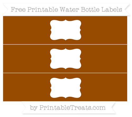 Free Brown Water Bottle Labels