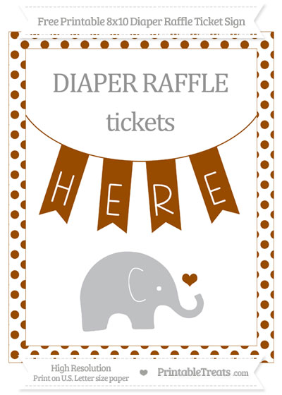 Free Brown Dotted Baby Elephant 8x10 Diaper Raffle Ticket Sign