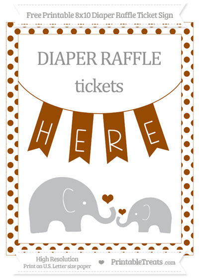 Free Brown Dotted Elephant 8x10 Diaper Raffle Ticket Sign