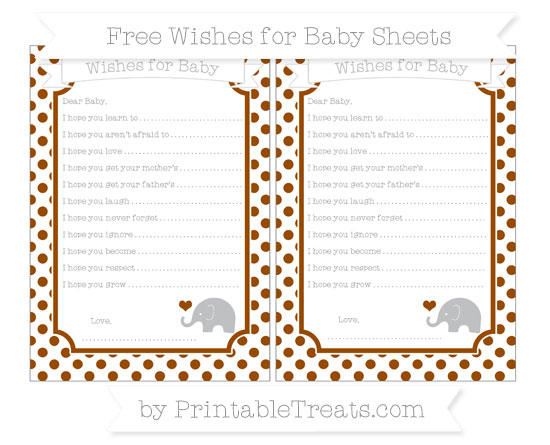 Free Brown Dotted Pattern Baby Elephant Wishes for Baby Sheets