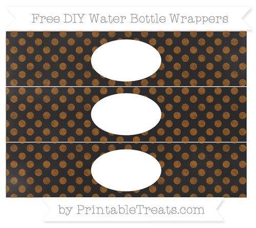 Free Brown Dotted Pattern Chalk Style DIY Water Bottle Wrappers