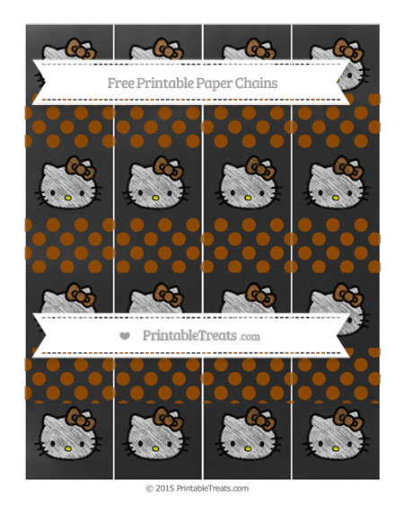 Free Brown Dotted Pattern Chalk Style Hello Kitty Paper Chains