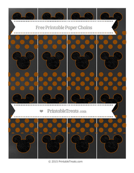 Free Brown Dotted Pattern Chalk Style Mickey Mouse Paper Chains