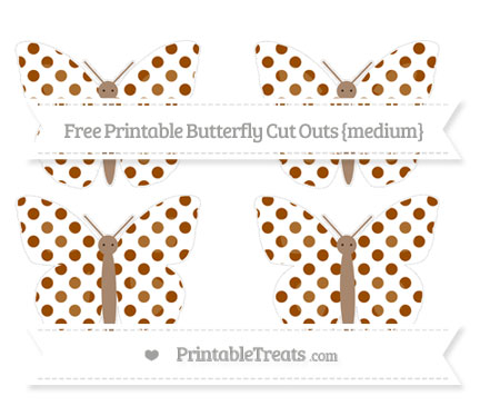 Free Brown Dotted Pattern Medium Butterfly Cut Outs