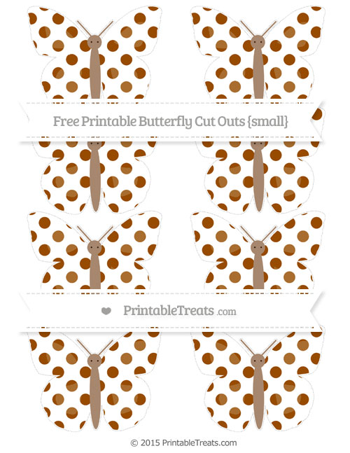 Free Brown Dotted Pattern Small Butterfly Cut Outs