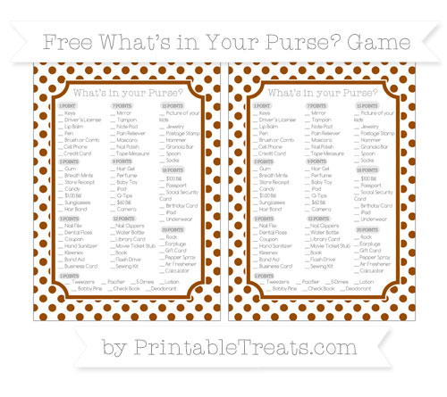 Free Brown Dotted Pattern What's in Your Purse Baby Shower Game