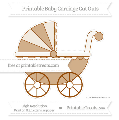 Free Brown Extra Large Baby Carriage Cut Outs