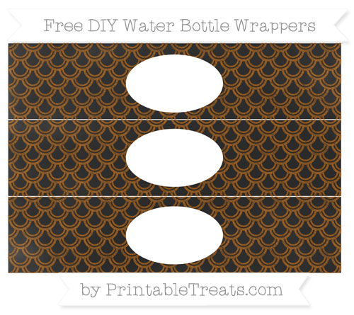 Free Brown Fish Scale Pattern Chalk Style DIY Water Bottle Wrappers