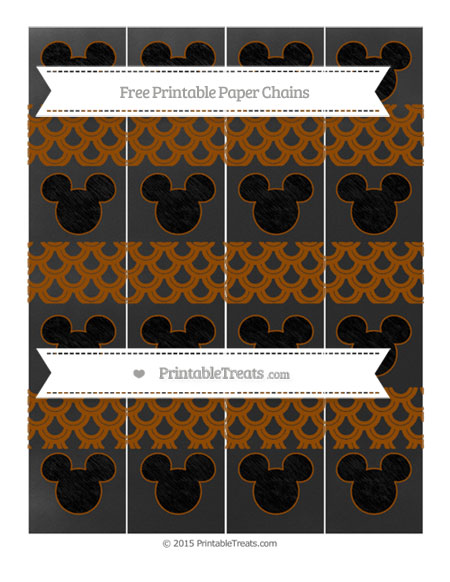Free Brown Fish Scale Pattern Chalk Style Mickey Mouse Paper Chains