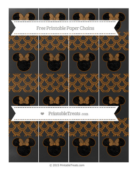 Free Brown Fish Scale Pattern Chalk Style Minnie Mouse Paper Chains