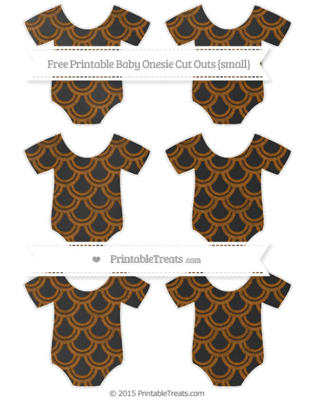 Free Brown Fish Scale Pattern Chalk Style Small Baby Onesie Cut Outs