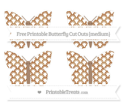 Free Brown Fish Scale Pattern Medium Butterfly Cut Outs