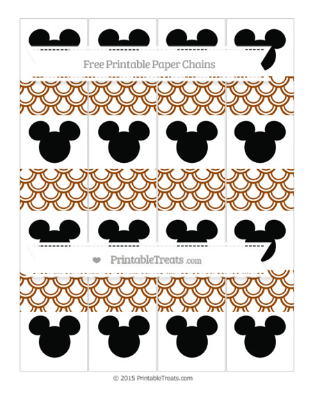 Free Brown Fish Scale Pattern Mickey Mouse Paper Chains