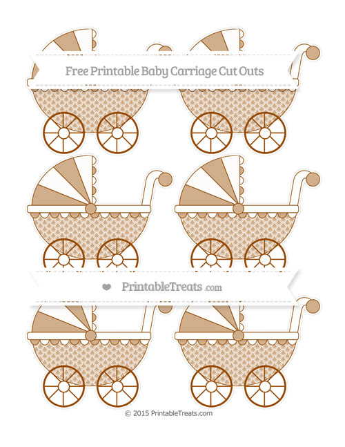 Free Brown Fish Scale Pattern Small Baby Carriage Cut Outs