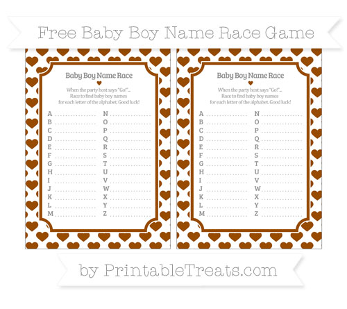 Free Brown Heart Pattern Baby Boy Name Race Game